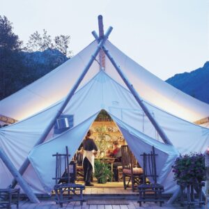 Canvas Wall tent set up in BC resort