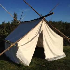 Front Side of Canvas Wall Tent with Temporary External Frame