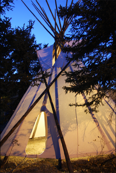 Canvas Tipi glowing in the evening